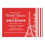 Rayas rojas y blancas; París Invitación 12,7 X 17,8 Cm