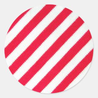 Rayas rojas y blancas pegatina redonda
