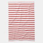 Rayas rojas y blancas toalla de mano
