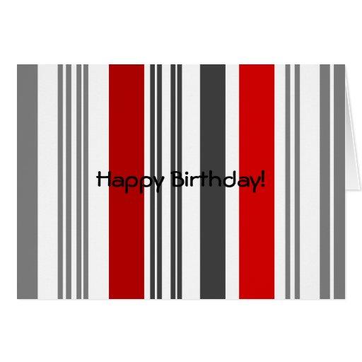 Rayas rojas y grises contemporáneas felicitación