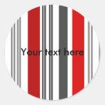 Rayas rojas y grises contemporáneas pegatina redonda