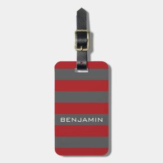 Rayas rojas y grises del rugbi con nombre de etiquetas maleta