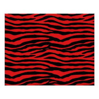 Rayas rojas y negras de la cebra póster