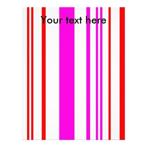 Rayas rojas y rosadas blancas contemporáneas membrete a diseño