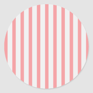Rayas rosa y blanco pegatina redonda