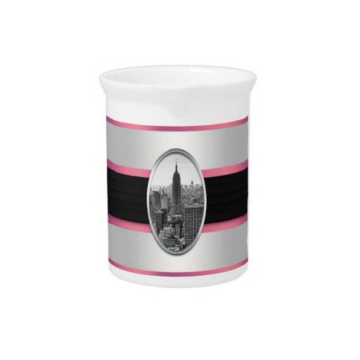 Rayas rosadas blancas del Empire State Building Jarrón
