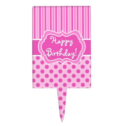 ¡Rayas rosadas, blancas, feliz cumpleaños de los Decoraciones De Tartas