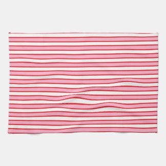 Rayas rosadas, blancas y rojas toallas de mano