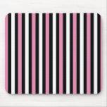 Rayas rosadas, blancos y negros alfombrilla de ratones