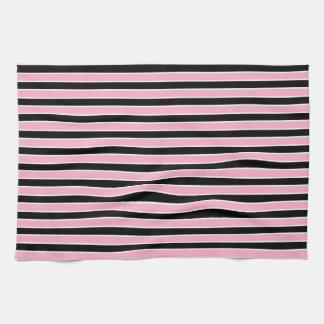 Rayas rosadas, blancos y negros toalla de cocina