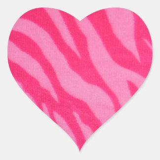 Rayas rosadas borrosas de la cebra colcomanias de corazon