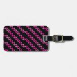 Rayas rosadas brillantes de la lentejuela en negro etiquetas para equipaje