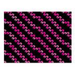 Rayas rosadas brillantes de la lentejuela en negro tarjeta postal