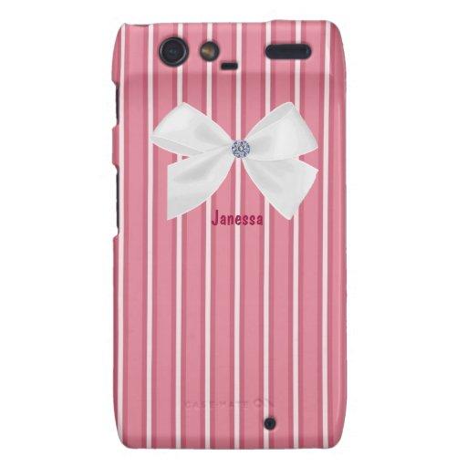 Rayas rosadas con una caja blanca de Razr del arco Carcasa Para Motorola Droid RAZR