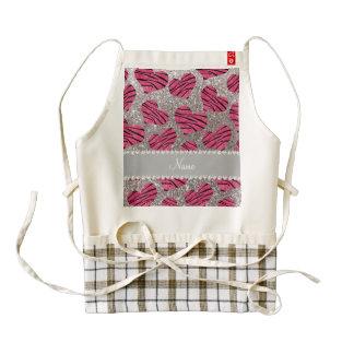Rayas rosadas conocidas de la cebra del brillo de delantal zazzle HEART