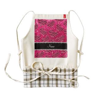Rayas rosadas conocidas de la cebra del brillo del delantal zazzle HEART