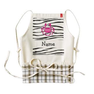 Rayas rosadas conocidas personalizadas de la cebra delantal zazzle HEART