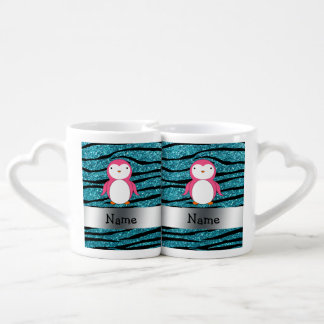 Rayas rosadas conocidas personalizadas de la cebra taza para enamorados