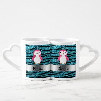 Rayas rosadas conocidas personalizadas de la cebra taza para parejas