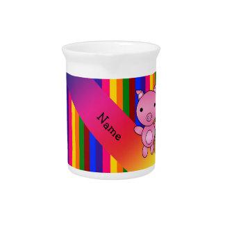 Rayas rosadas conocidas personalizadas del arco jarra de beber