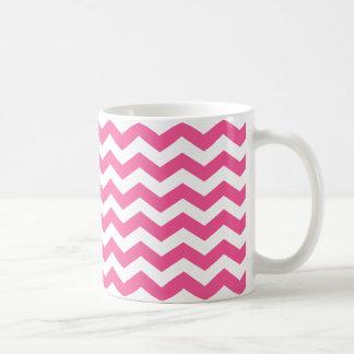 Rayas rosadas de Chevron Tazas De Café