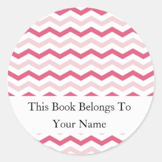 Rayas rosadas de encargo de los Bookplates el | Etiqueta Redonda