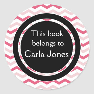 Rayas rosadas de encargo de los Bookplates el | Etiquetas Redondas