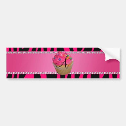 Rayas rosadas de la cebra de las rosas fuertes de  etiqueta de parachoque