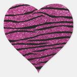 Rayas rosadas de la cebra del brillo pegatina de corazon personalizadas