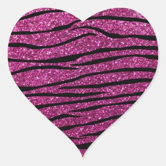 Rayas rosadas de la cebra del brillo pegatina en forma de corazón