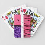 Rayas rosadas de la cebra del nombre y del monogra cartas de juego