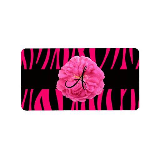 Rayas rosadas de la cebra del peony del monograma etiqueta de dirección