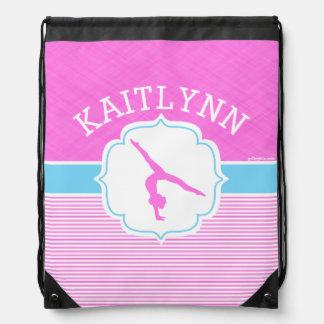 Rayas rosadas de la gimnasia con los azules cielos mochilas