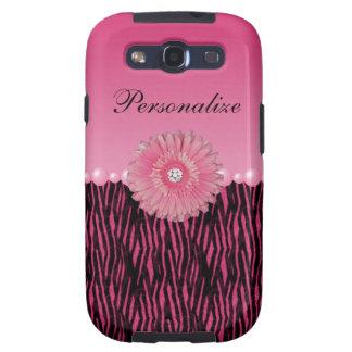 Rayas rosadas de la margarita del Gerbera y de la  Samsung Galaxy S3 Funda