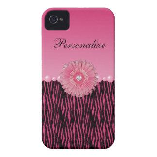 Rayas rosadas de la margarita del Gerbera y de la iPhone 4 Case-Mate Funda
