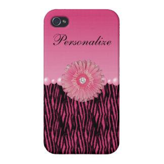 Rayas rosadas de la margarita del Gerbera y de la iPhone 4/4S Fundas