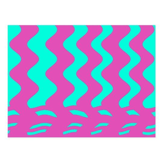 rayas rosadas de la turquesa tarjeta postal