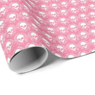 Rayas rosadas de los cráneos del vintage papel de regalo