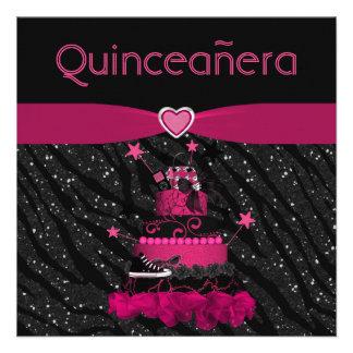 Rayas rosadas de moda de la torta y de la cebra de comunicado personalizado