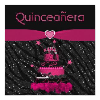 """Rayas rosadas de moda de la torta y de la cebra de invitación 5.25"""" x 5.25"""""""