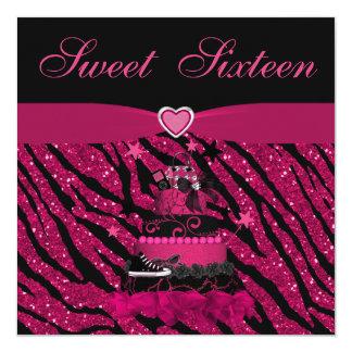 Rayas rosadas de moda de la torta y de la cebra invitación 13,3 cm x 13,3cm