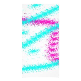 Rayas rosadas de neón abstractas del watercolour tarjetas personales