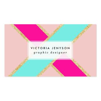 Rayas rosadas de neón del oro de la menta del tarjetas de visita