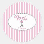 """Rayas rosadas de """"París te amo"""" - Etiqueta Redonda"""