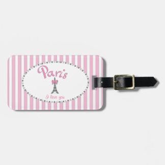 """Rayas rosadas de """"París te amo"""" - Etiquetas Maleta"""