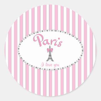 """Rayas rosadas de """"París te amo"""" - Pegatina Redonda"""