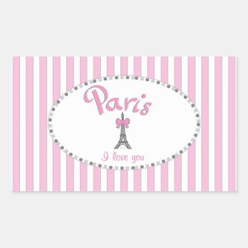 """Rayas rosadas de """"París te amo"""" - Rectangular Altavoces"""