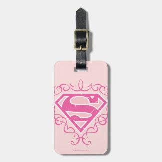 Rayas rosadas de Supergirl Etiquetas Para Maletas