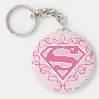 Rayas rosadas de Supergirl Llavero Redondo Tipo Pin