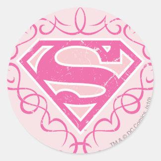 Rayas rosadas de Supergirl Pegatina Redonda